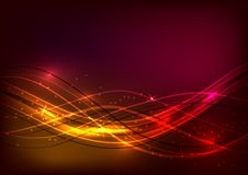 Abstract background of red color with shiny waves stock illustration