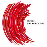 Abstract background with red colorful curved lines in a chaotic order. Royalty Free Stock Photo