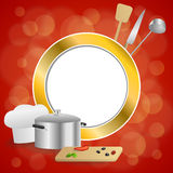 Abstract background red cooking white hat saucepan soup ladle knife paddle kitchen pepper olives gold circle frame illustration Stock Photo
