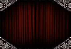 Abstract background from red curtain and floral pattern Stock Photos