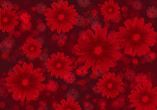 Abstract background with red flowers . Abstract red background with flowers stock illustration