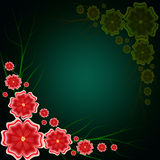 Abstract background with red flowers . Abstract floral on dark background stock illustration