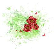 Abstract background with red flowers. Green decorative background with red flowers and bird Royalty Free Stock Photo