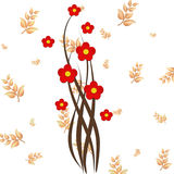 Abstract background with red flowers . Red flowers on background with leaves Vector Illustration