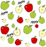 Abstract background with red and green apples. Seamless pattern. On white background Stock Illustration