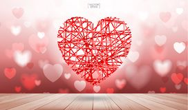 Abstract background of red heart floating over wooden texture with light blurred bokeh. Vector illustration royalty free illustration