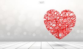 Abstract background of red heart floating over wooden texture with light blurred bokeh. Vector illustration stock illustration