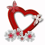 Abstract background red heart frame on white. Abstract background red heart frame with butterfly and flowers vector illustration