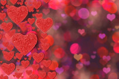 Abstract background with red heart. Valentine`s day background of red hearts bokeh Royalty Free Stock Photography