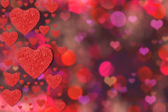 Abstract background with red heart. Valentine`s day background of red hearts bokeh Stock Image