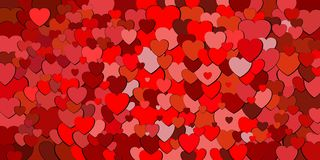 Abstract background with red hearts. Illustration, Various shades of red hearts background vector illustration