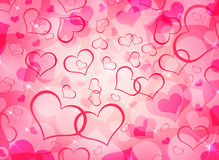 Abstract background of red hearts Stock Image