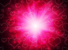 Abstract background of red hearts. The concept of Valentine's Day Stock Photos