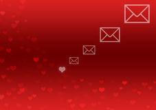 Abstract Background with red hearts and letter icon Royalty Free Stock Image