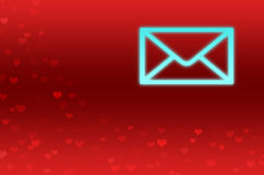 Abstract Background with red hearts and one letter Stock Image