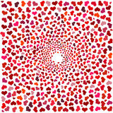 Abstract background with red hearts. Swirling red hearts on a white background. Stock Photography
