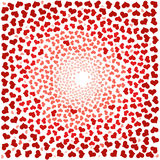 Abstract background with red hearts. Swirling red hearts on a white background Stock Photo
