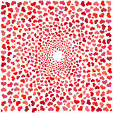 Abstract background with red hearts. Swirling red hearts on a white background Royalty Free Stock Photography