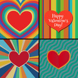 Abstract background with red hearts. Vector Stock Photo