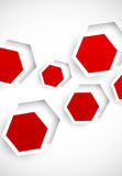 Abstract background with red hexagons Royalty Free Stock Photo