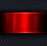 Abstract background. With red metal texture banner, vector illustration Stock Photography