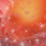 Abstract background. Red and orange abstract background with stars and hearts stock illustration
