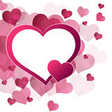 Abstract background red pink hearts frame Stock Photography