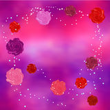Abstract background with red, pink and purple stylized roses Royalty Free Stock Photos
