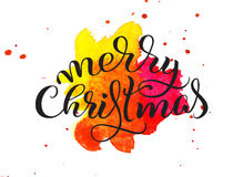 Abstract background red tone and the text of Merry Christmas. Lettering calligraphy Royalty Free Stock Image