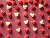 Abstract background of red and white hearts royalty free stock photos