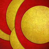 Abstract background, red yellow layered circle shapes in random pattern design with texture. Abstract red gold background, layers of red and gold circle shapes Royalty Free Stock Images