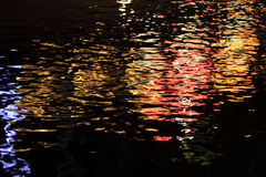 Abstract background of reflection of colorful light on water wave at night Stock Photo