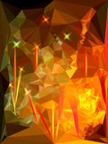 Abstract background resembling flames with light r. Glowing red and yellow background with crystals of polygons Stock Photos