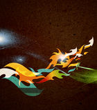 Abstract background - retro flames. On recycled paper Stock Image