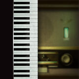 Abstract background with retro radio and piano Stock Photo