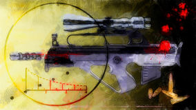 Abstract background - rifle with optical sight. Abstract black and yellow grungy background - rifle with optical sight Royalty Free Stock Images