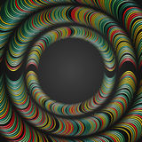 Abstract background with rings of distorted geometric shapes. The distortion of shapes and space. Stock Photography