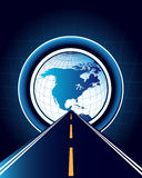 Abstract background with road and world map. Abstract background with road and map of the world Royalty Free Stock Photo