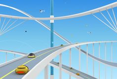 Abstract background with roads and bridges. Abstract conceptual background with roads and bridges on a background of clear sky. 3d illustration vector illustration