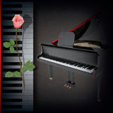 Abstract background with rose and grand piano Royalty Free Stock Images