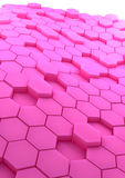 Abstract background with rose hexagons. 3D rendered abstract background with rose hexagons Stock Images