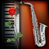 Abstract background with rose piano and saxophone Stock Photo