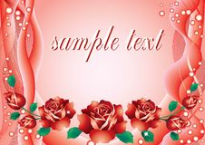 Abstract background with roses. Abstract red background with red roses and green leaves and ribbons stock illustration