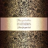 Abstract background with vintage frame. Abstract background with roses, luxury beige and gold vintage frame, victorian banner, damask floral wallpaper ornaments Royalty Free Stock Image