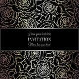 Abstract background with roses, luxury black, beige and silver vintage tracery made of roses, damask floral wallpaper ornaments, i. Nvitation card, baroque style vector illustration