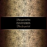 Abstract background with roses, luxury black and gold vintage tracery made of roses, damask floral wallpaper ornaments, invitation. Card, baroque style booklet stock illustration