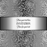 Abstract background with rosesand vintage frame. Abstract background with roses, luxury black and silver vintage tracery made of roses, damask floral wallpaper Stock Photography