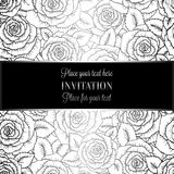 Abstract background with roses, luxury black and silver vintage tracery made of roses, damask floral wallpaper ornaments, invitati. On card, baroque style stock illustration