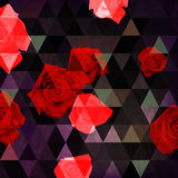 Abstract background with roses and triangles on dark background Stock Images