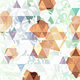 Abstract background with roses and triangles on  light backgroun Royalty Free Stock Images